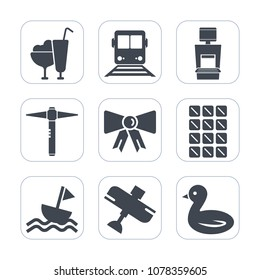 Premium fill icons set on white background . Such as xray, cone, transportation, diagnostic, equipment, vanilla, airplane, food, modern, medical, construction, suit, nature, vehicle, yacht, aircraft