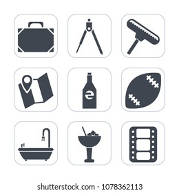 Premium fill icons set on white background . Such as bar, engineering, beverage, travel, cocktail, instrument, roller, brush, movie, entertainment, liquid, sign, ball, drink, glass, drawing, stadium