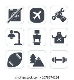 Premium fill icons set on white background . Such as chief, work, american, airplane, forest, nature, interior, builder, ball, stadium, business, black, modern, industry, male, environment, football