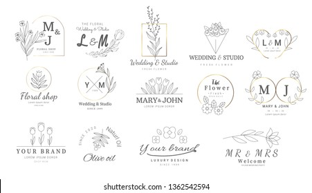 Premium floral logo templates for wedding, logo, banner, badge, printing, product, package. vector illustration