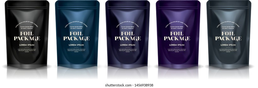 Premium foil Food Pouch Bag Packaging With Zipper set. Illustration Isolated On White Background. Mock Up, Mockup Template Vector