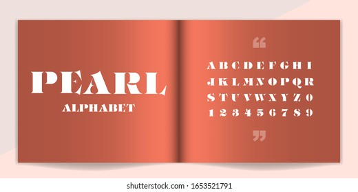 Premium font and alphabet set. Lettering Design for magazine, poster, logo or advertising media. Typography fonts uppercase and number. Vector illustration.