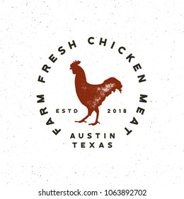 premium fresh chicken meat label. retro styled meat shop emblem. vector illustration