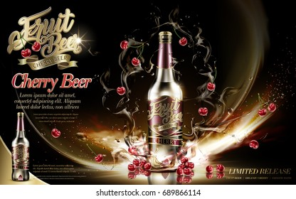 Cherry beer element, premium fruit beer with cherries and floating beer in 3d illustration, isolated on dark background