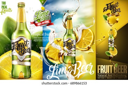 Lime beer ads, premium fruit beer with sliced lime and splashing beer in 3d illustration, modern design for advertising