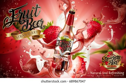 Premium fruit beer with strawberries and splashing drink in 3d illustration