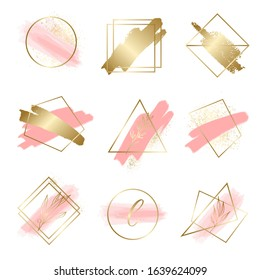 Premium geometric logo templates.  Pink and gold  color in watercolor style.