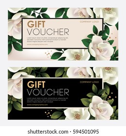 Premium gift certificate for a spa, beauty salon, shops, cosmetics and restaurants. Gift voucher. Discount card. Vector illustration of magnolia flower with leaves