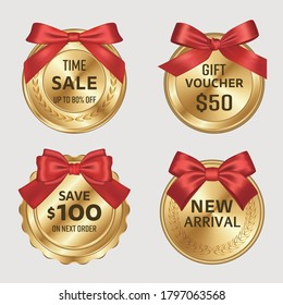 Premium gold circle badges and red bows Vector