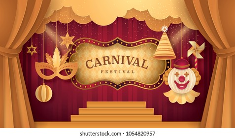 Premium Gold Curtains stage with Circus Frame Border, Cloud and Hanging Carnival Mask, Happy Clown, Party hat, Pinwheel, ball, Fun Fair, Day Scene festival,Theme Theater, Paper art vector illustration