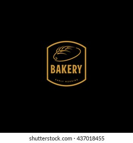 Premium gold retro bakery logo badge