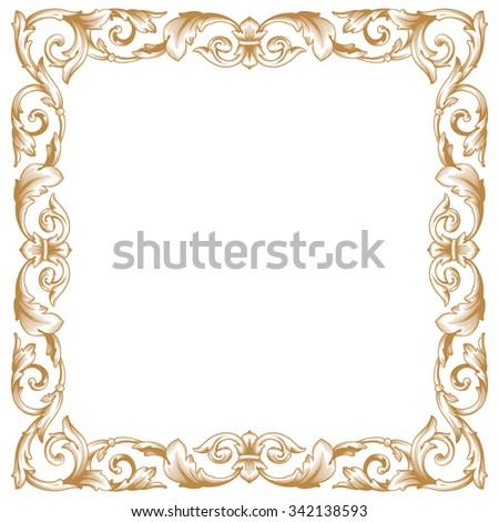 Premium Gold Vintage Baroque Frame Scroll Stockvector Rechtenvrij