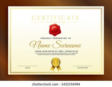 premium golden black certificate template design for apprication - Vector