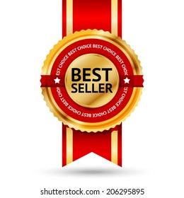 "Premium golden and red Best Seller label with ""Best choice"" text around it. Isolated on white background. Vector"