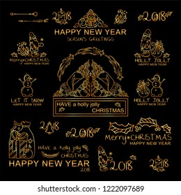 Premium golden set of labels, signs, tags for winter design, inscription, lettering, caption for Christmas, happy New Year, Holly Jolly greetings. Perfect for colored background