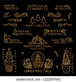 Premium golden set of labels, signs, tags, inscription, lettering, caption for season greetings, Merry Christmas.  Perfect for colored background