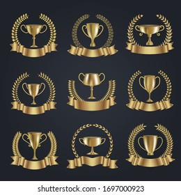 Premium golden trophy cups and ribbons Vector