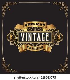 Premium golden vintage frame label design. Suitable for wine and whiskey label, Jewelry shop, Restaurant, Beer label. Vector illustration