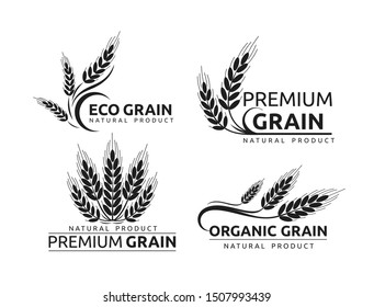 Premium grain flat vector logotype in black silhouette designs set. Organic cereal crops, natural product advertising. Ripe wheat ears cartoon illustrations with typography. Eco farm, bakery shop logo