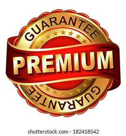 Premium guarantee golden label with ribbon.  Vector illustration.
