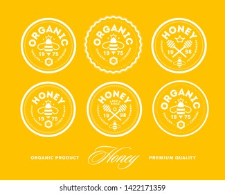 Premium Honey Mark. Vector image.  Premium stamps on yellow background