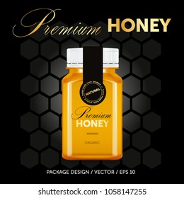 Premium honey package design template. Glas jar. Black and gold label. Quality product.