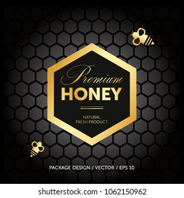 Premium honey packaging concept. Advertising layout. Bee, honey cells.