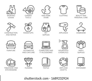 Premium Icons Pack on Department Store, Shop Category. Such Line Signs as Kids Home Store, Pet Supplies. Custom Vector Icons Set for Web and App in Outline Style. Editable Stroke and Pixel Perfect.