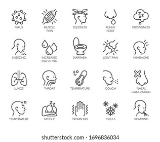 Premium Icons Pack on Symptoms Respiratory Sickness Pneumonia, Flu, Fever. Such Line Signs as Chills, Muscle Pain, Cough. Custom Vector Icons Set for Web and App in Outline Style. Editable Stroke.