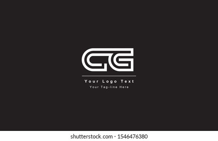 Premium Initial Letter CG logo design. Trendy awesome artistic black and white color CG GC initial based Alphabet icon logo
