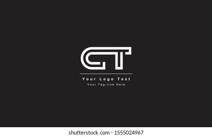 Premium Initial Letter CT logo design. Trendy awesome artistic black and white color CT TC initial based Alphabet icon logo