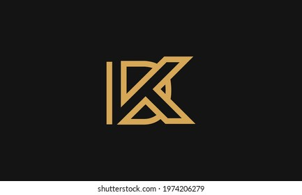 Premium Initial Letter DK logo design. Trendy awesome artistic black and white color DK KD initial based Alphabet icon logo