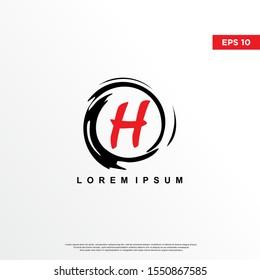 premium initial letter h logo inside enso zen. modern icon, template design