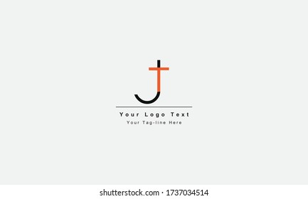 Premium Initial Letter JT logo design. Trendy awesome artistic black and white color JT TJ initial based Alphabet icon logo