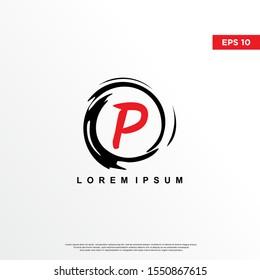 premium initial letter p logo inside enso zen. modern icon, template design