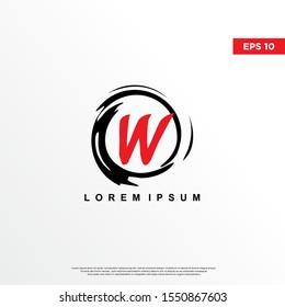 premium initial letter w logo inside enso zen. modern icon, template design