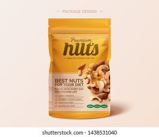 Premium integrated nuts package design in 3d illustration on pink background