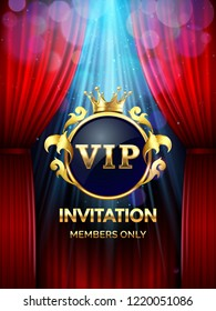 Premium invitation card. Vip party invite with golden crown and open red curtains. Grand opening banner, gold luxury elegant vip gatsby glamour invite ticket vector template