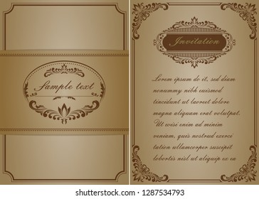 premium invitation or wedding card in vintage decorative golden frame with beautiful filigree and retro border on ancient background, luxury postcard, ornament vector
