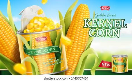 Premium kernel corn can ads in 3d illustration on bokeh blue sky background