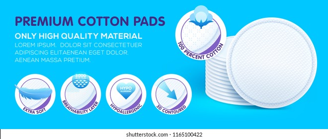 Premium layered cosmetic hypoallergenic cotton pads while offering excellent skin care, protection and comfort. Concept with icons. Vector eps10.