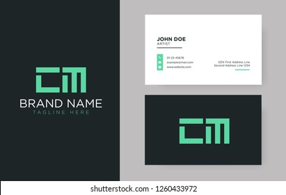 Premium letter CM logo with an elegant corporate identity template