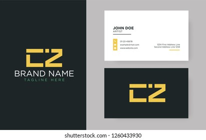 Premium letter CZ logo with an elegant corporate identity template