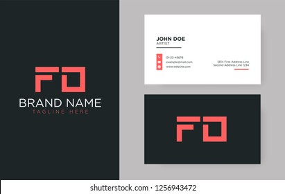 Premium letter FD logo with an elegant corporate identity template