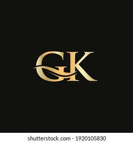 Premium Letter GK Logo Design with water wave concept. GK letter logo design with modern trendy