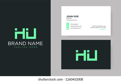 Premium letter HU logo with an elegant corporate identity template
