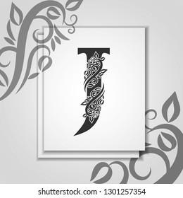 Premium letter J with Elegant floral contour for initials logo. Luxury letter J. Universal symbol vector design for template, business card, monogram, logotype, restaurant, boutique, hotel, heraldic