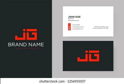 Premium letter JG logo with an elegant corporate identity template