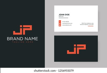 Premium letter JP logo with an elegant corporate identity template