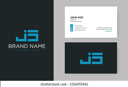 Premium letter JS logo with an elegant corporate identity template
